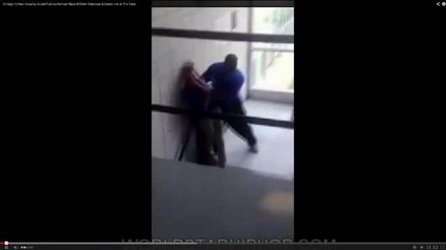 RAW: CPS guard pushes student down flight of stairs