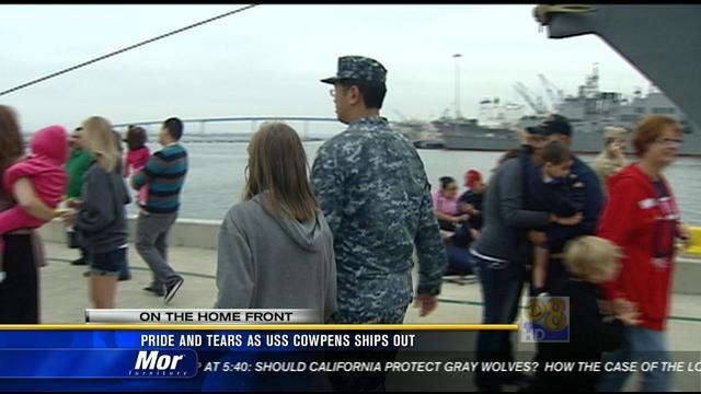 Pride and tears as USS Cowpens ships out