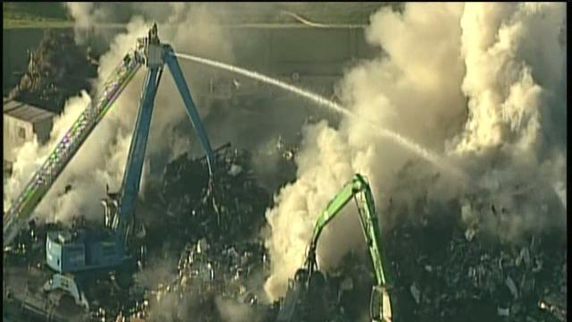 Fire at metal recycling plant burns for hours