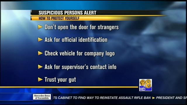 Suspicious person posing as water worker in North County