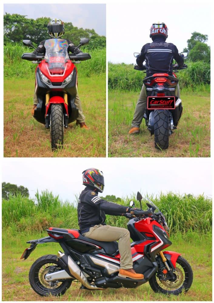 小編身高175cm,圖片為低座版的X-ADV,整體的騎姿雖然直立,但腿部的角度擺放舒適,讓整體的感覺更加輕鬆