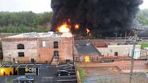 Freight train carrying crude oil derails and catches fire in Virginia