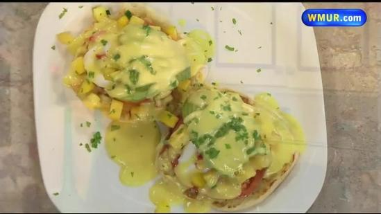 Mango and poached egg breakfast sandwich