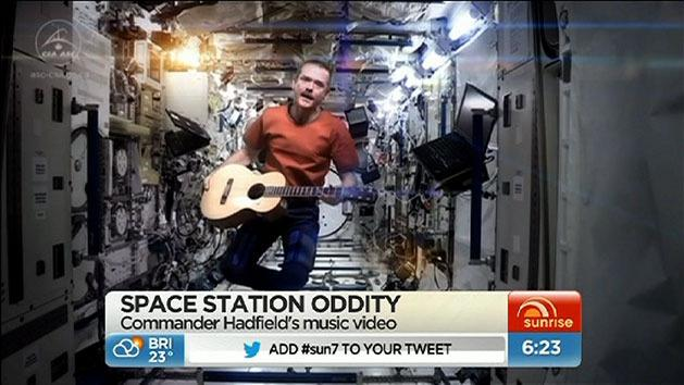 Rock star astronaut's music video