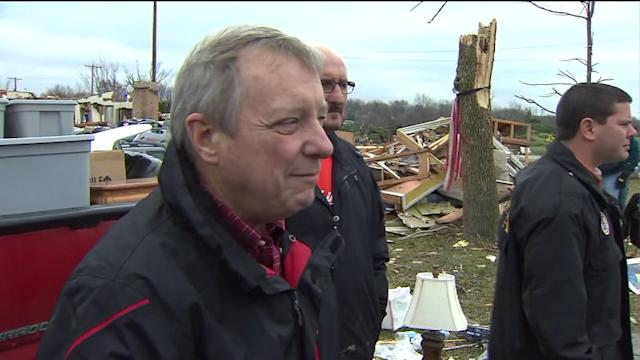 Senator Dick Durbin tours tornado damage in Washington