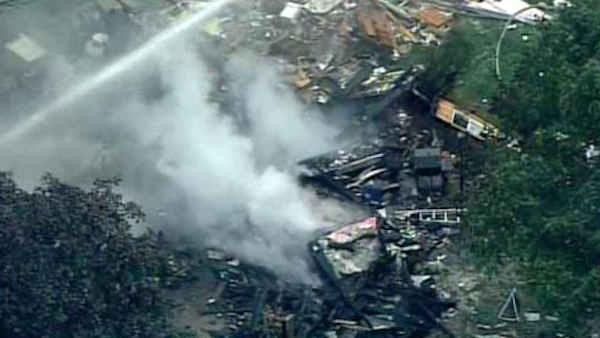 Explosion and fire level home in Hampton, New Jersey