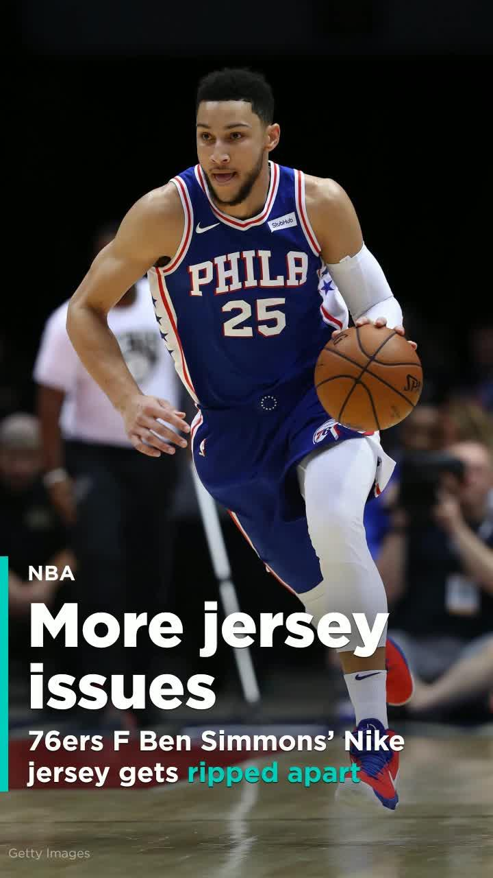87273b57308 Ben Simmons  Nike jersey gets ripped apart  Video