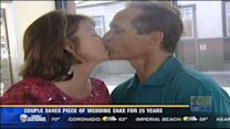 Couple saves piece of wedding cake for 25 years