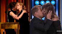 Tina Fey and Amy Schumer, Allison Janney and James Corden Lock Lips on Stage!