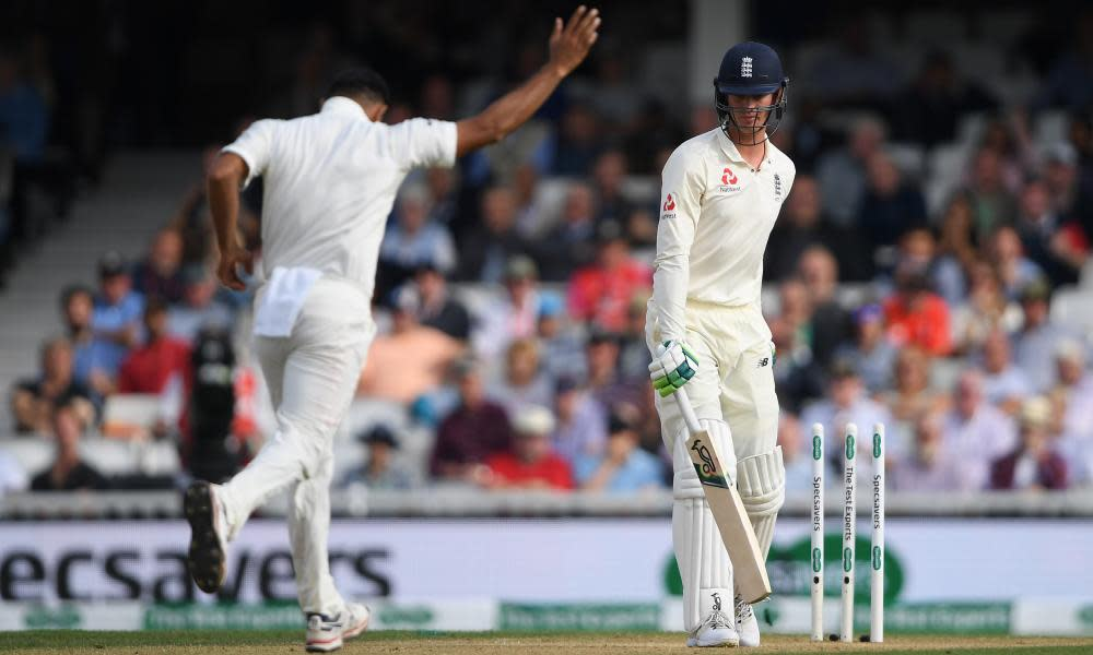 Keaton Jennings is bowled by Mohammed Shami not offering a shot in England's second innings against India at the Oval