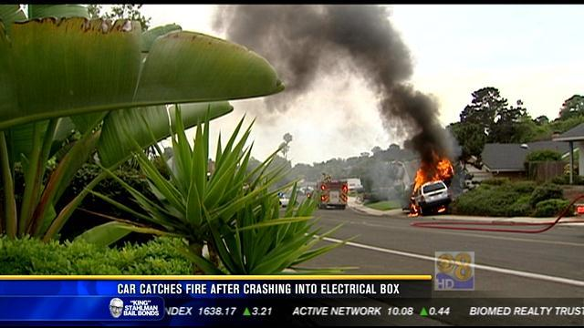 Car catches fire after crashing into electrical box in Torrey Pines
