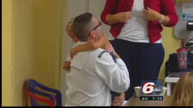 Returning Sailor Surprises Daughter At School