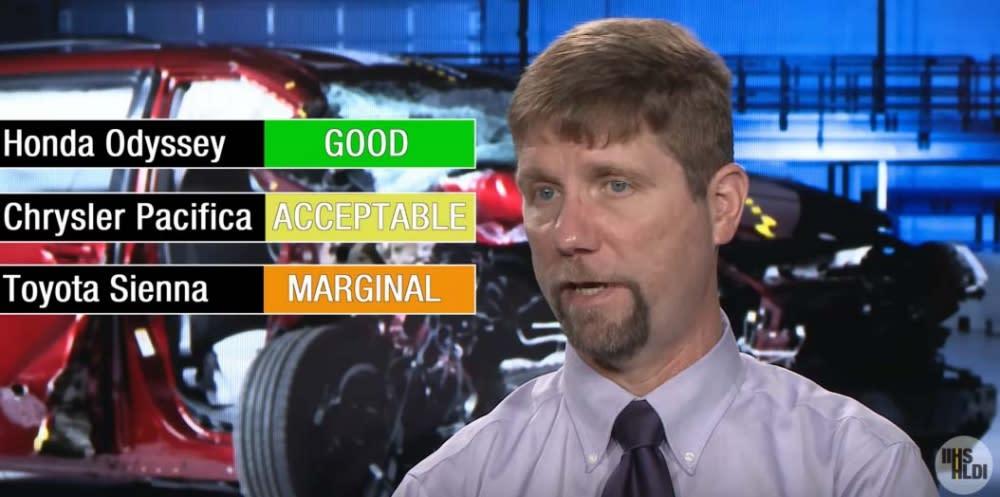 在這次安全測試中,Honda Odyssey在小重疊面碰撞測試中獲得Good,Chrysler Pacifica獲得Acceptable,Toyota Sienna只拿到Marginal(圖片來源:https://www.youtube.com/watch?v=Ec7HimSSAXM)