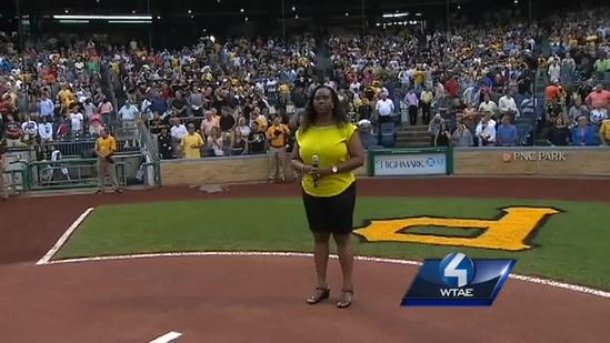 RAW Video: Andrew McCutchen's mom sings national anthem