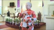 100-year-old woman raps at Easter service