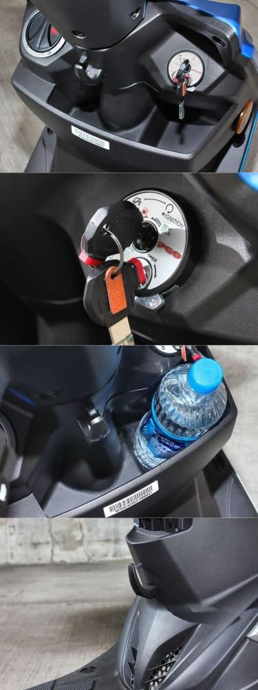 前方大容量的置物空間加上腳踏處的掛鉤,提供相當便利的用車機能。