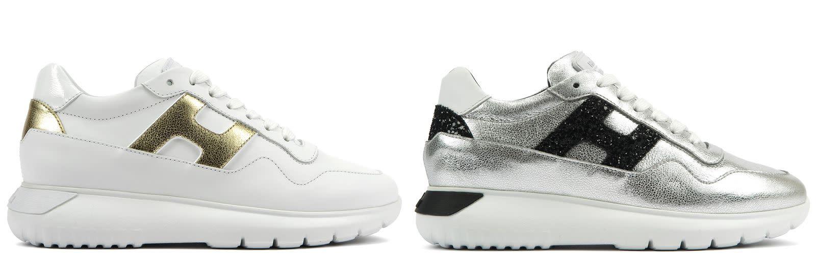 (左圖)HOGAN ICUBE金屬皮革拼接休閒鞋,NTD 16,900。  (右圖)HOGAN ICUBE金屬皮革拼接休閒鞋,NTD 16,900。