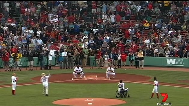 Boston heroes honoured at baseball game