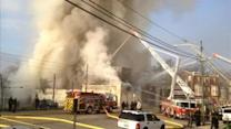 3-alarm fire, building collapse at Darby grocery store