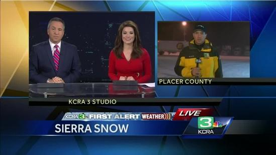 Snow in Sierra causing trucks to put on chain controls