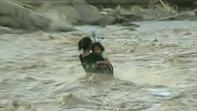 Raw: Philippines floods force water rescues
