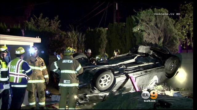 2 Killed, Teen In Stable Condition Following Car Crash Into Yard Of Anaheim Home