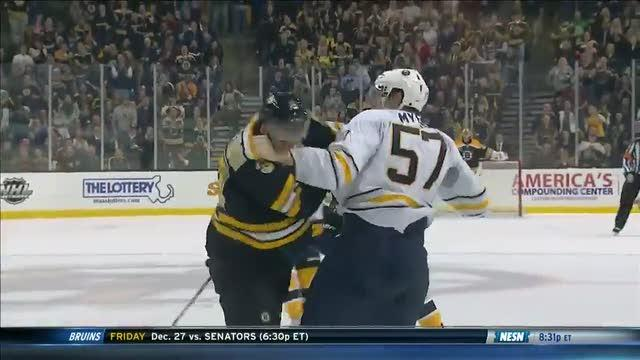 Tyler Myers and Patrice Bergeron scrap