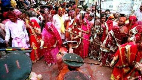The week-long Barsana Holi celebrations began on Sunday