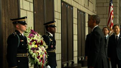 Raw: Obama Lays Korean War Memorial Wreath