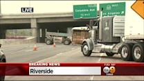 Overturned Semi-Truck Blocks Eastbound 91 Freeway In Riverside