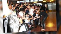 Brad Pitt and Angelina Jolie and Kids Look Happy in Japan