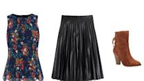 Fashion Formula: Printed Blouse + Pleated Midi Skirt + Ankle Boot