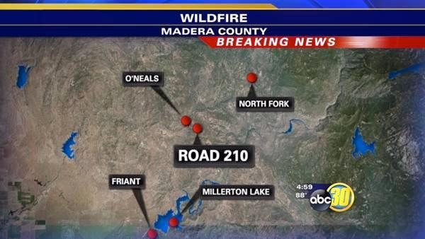 Fire burning in Madera County in O'Neals