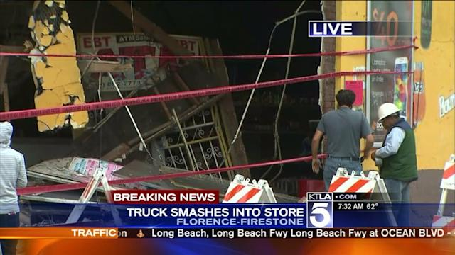 Dump Truck Crashes Into South L.A. Corner Store