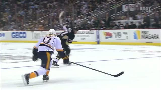Evgeni Malkin deflects laser off Neal and in
