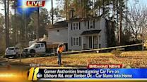 Garner crash leads to house fire