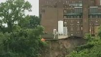 Raw: Mudslide in Minneapolis Along Mississippi