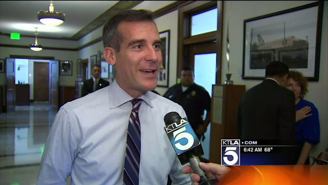 Garcetti`s First Day as Mayor of L.A.