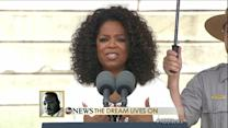 "Oprah Winfrey Asks Washington ""How Will the Dream Live On?"""