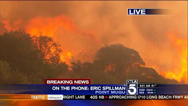 Springs Fire: Navy Facility Surrounded by Flames