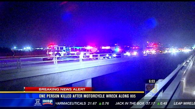 One person killed after motorcycle wreck along I-805
