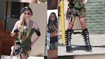 Avril Lavigne Looks Ready For Battle in a Camouflage Outfit and Fishnet Stockings