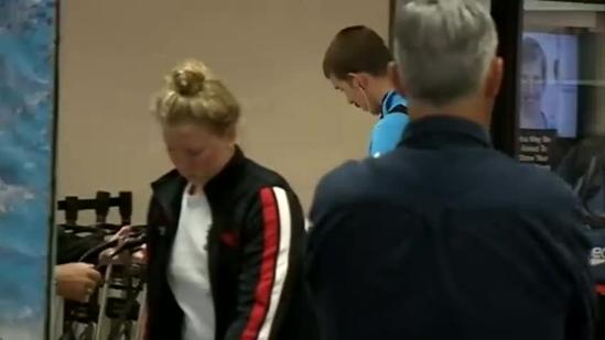 Michael Phelps arrives at Eppley Airfield