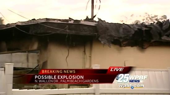 Explosion sparks fire at Palm Beach Gardens house
