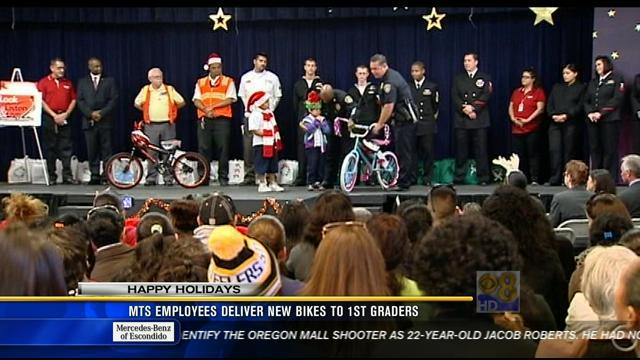 MTS employees deliver new bikes to first graders
