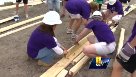 Ravens help Habitat for Humanity build in Pigtown