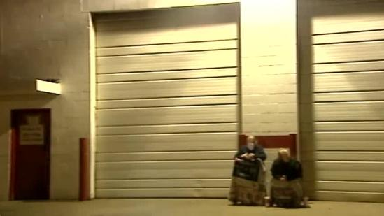 Residents camp out awaiting free Thanksgiving meals