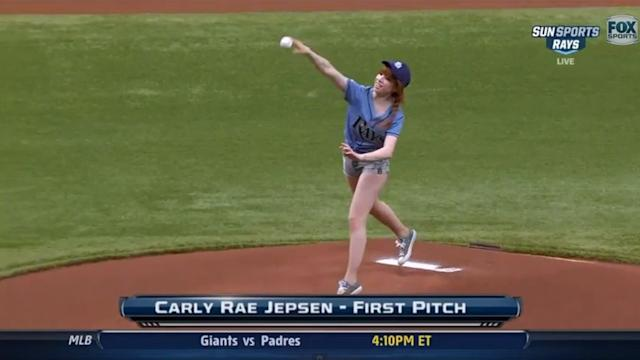 Carly Rae Jepsen Throws Worst Pitch in Baseball History!?