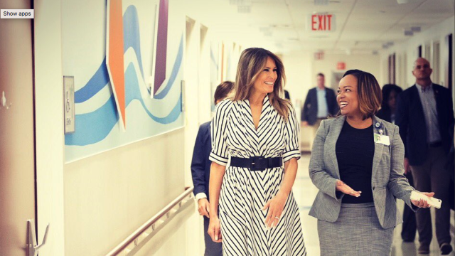 Melania Trump Resurfaces In A Striped 1 280 Dress From Designer Who Staged Planned Parenthood Runway Show