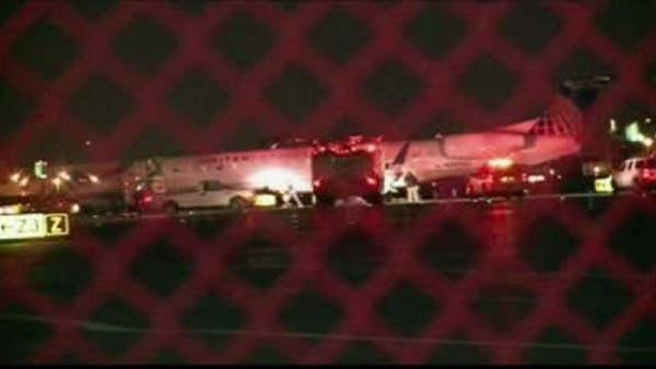 Plane from NY blows tires, veers off NJ runway